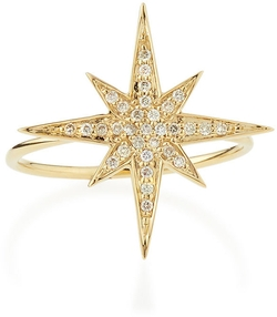 Medium Yellow Gold Diamond Starburst Ring by Sydney Evan in Suicide Squad