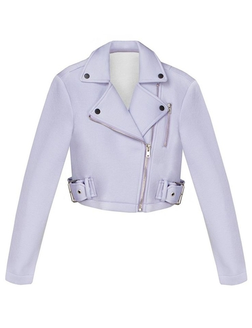 Neoprene Cropped Biker Jacket by Pixie Market in Scream Queens