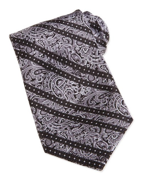 Paisley-Print Striped Woven Silk Tie by Stefano Ricci in John Wick