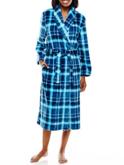 Jasmine Rose Plaid Print Wrap Robe by JCPenney in Mistresses