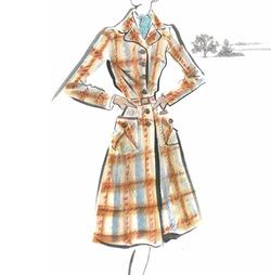 Custom Made Check Brown Coat by Joanna Johnston (Costume Designer) in Allied
