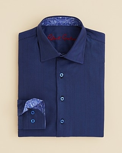 Boys' Lambert Herringbone Button Down Shirt by Robert Graham in Midnight Special