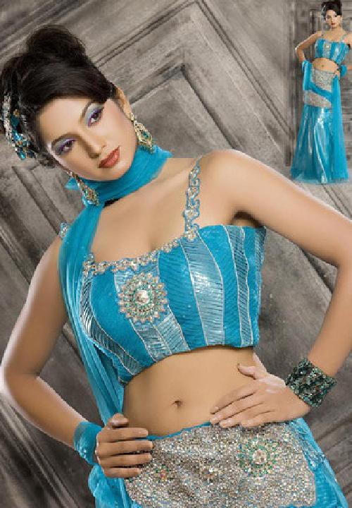 Dynamic Blue Faux Georgette Lehenga Choli with Dupatta by UTSAV fashion in Million Dollar Arm