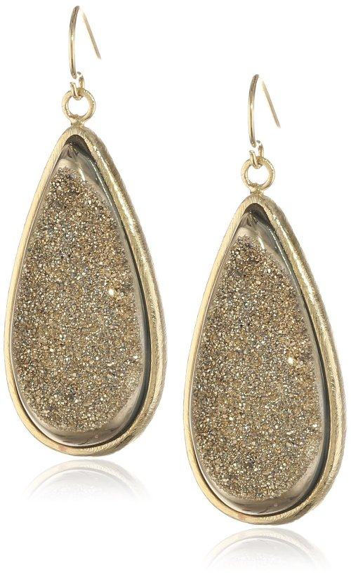 Glamour Gold Plated Drop Stone Earrings by Marcia Moran in The Counselor