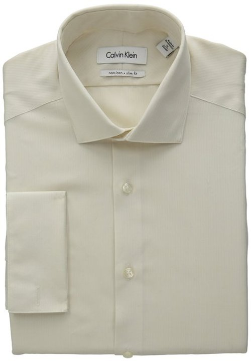 Slim Fit Textured Solid Dress Shirt by Calvin Klein in That Awkward Moment