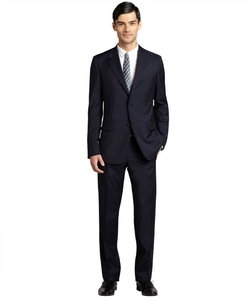 Navy Wool Blend Two Button Suit by Prada in Empire