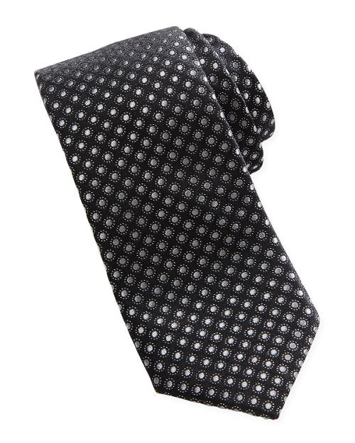 Dot-Jacquard Contrast-Tail Narrow Tie by Neiman Marcus in Yves Saint Laurent