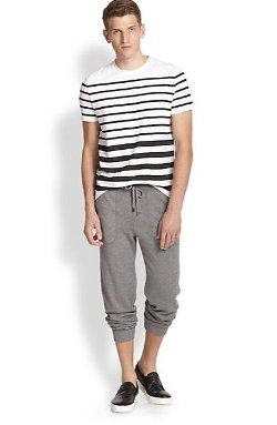Modern-Fit Stretch Cotton Stripe Tee by Saks Fifth Avenue Collection in The Boy Next Door