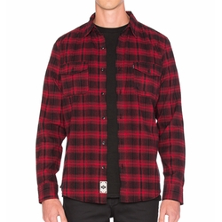 Tardy Flannel Button Down Shirt by Huf in New Girl