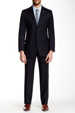 Two Button Notch Lapel Wool Bend Suit by Brooks Brothers in The Accountant