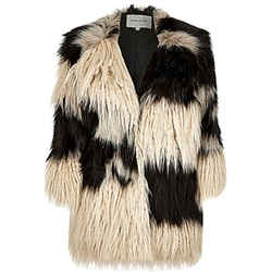 Patchwork Shaggy Faux Fur Coat by Cream in Now You See Me 2