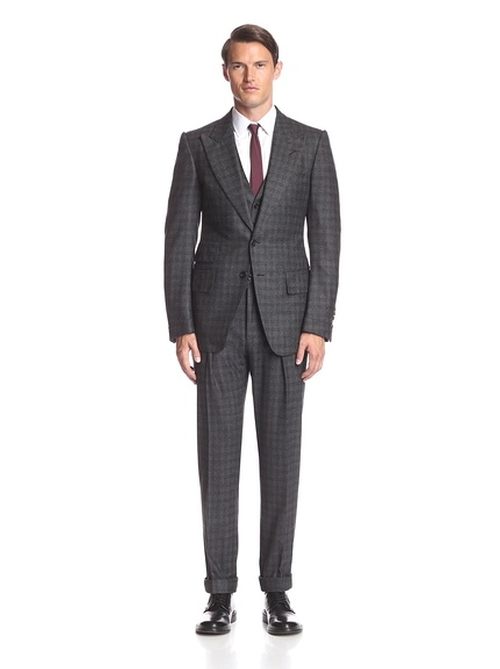 Plaid Peak Lapel Ticket Pocket Suit by Tom Ford in Demolition