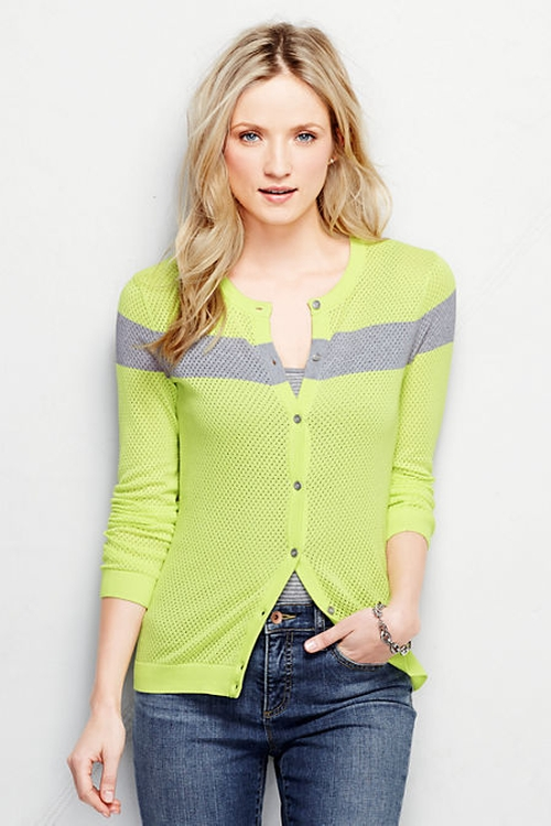 Supima Mesh Cardigan by Lands' End in Hail, Caesar!