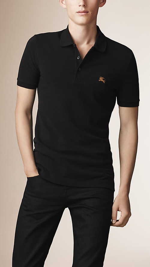 Cotton Piqué Double Dyed Polo Shirt by Burberry in Life