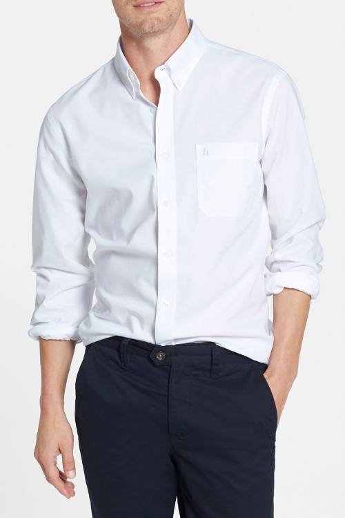 Smartcare Trim Fit Oxford Non-Iron Sport Shirt by Nordstrom in Fight Club