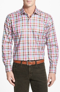 Tailored Fit Plaid Twill Sport Shirt by Peter Millar in Cut Bank