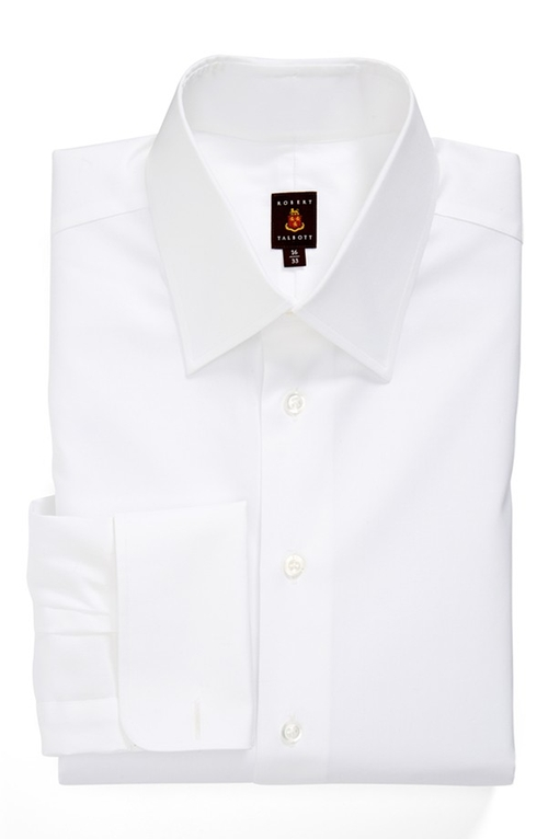 Classic Fit Solid Dress Shirt by Robert Talbott in Survivor