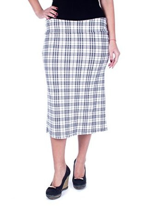 Midi Plaid Pattern Long Pencil Pull-On Skirt by Forever Young in Secret in Their Eyes