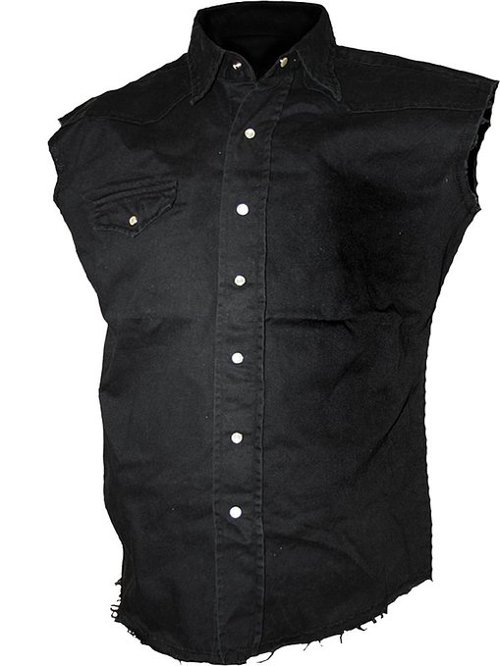 Sleeveless Stone Washed Worker Shirt by Spiral in Pitch Perfect 2