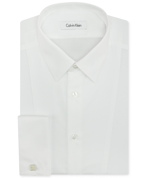 Non-Iron Slim-Fit White Textured French Cuff Shirt by Calvin Klein in And So It Goes
