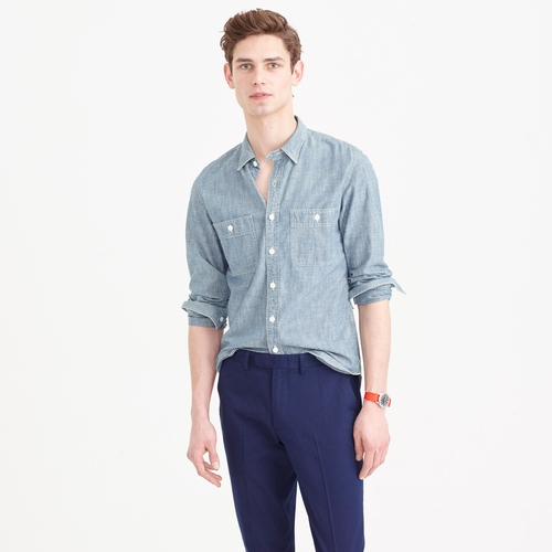 Selvedge Japanese Chambray Utility Shirt by J Crew in Me Before You