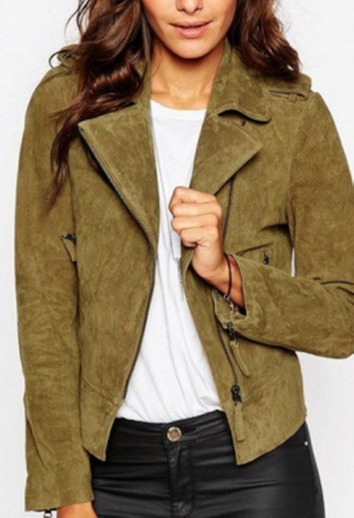 Oil Wash Suede Biker Jacket by Asos in Keeping Up With The Kardashians - Season 12 Episode 4
