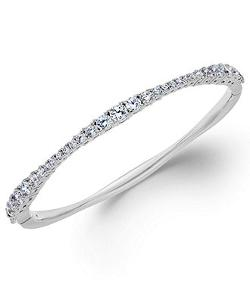 Wavy Cubic Zirconia Hinge Bangle Bracelet by Eliot Danori in Couple's Retreat