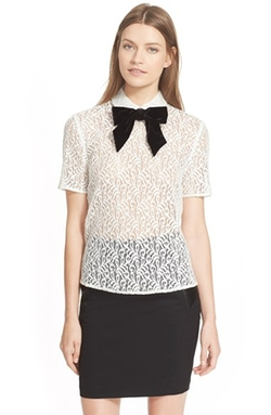 Velvet Bow Lace Top by The Kooples in Black-ish