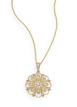Diamond & 14K Yellow Gold Flower Pendant Necklace by Saks Fifth Avenue  in Scandal
