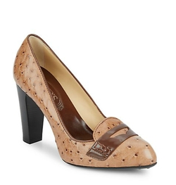 Lulu Embossed Leather Loafer Pumps by Tod's in Supergirl