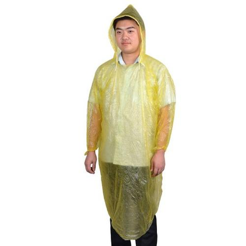 Adult Pullover Style Plastic Disposable Hooded Raincoat Poncho by Allegra K in Tammy