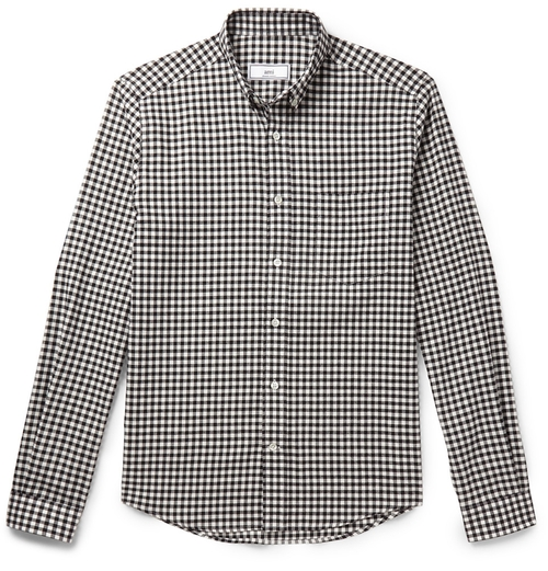 Slim-Fit Button-Down Collar Gingham Cotton Shirt by Ami in Rosewood - Season 1 Episode 8