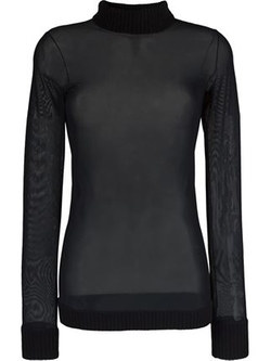 Mesh Turtle Neck Sweater by Antonio Marras in Black-ish