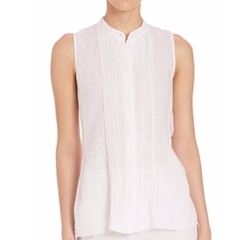 Reeta Linen Ruffle Blouse by Theory  in Lethal Weapon