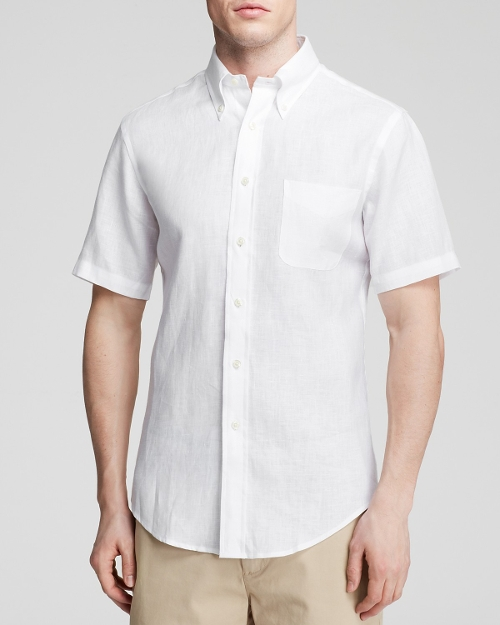 Short Sleeve Linen Button Down Shirt by Brooks Brothers in Love & Mercy