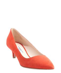 Coral Suede Pointed Toe Kitten Pump Shoes by Prada in Lee Daniels' The Butler