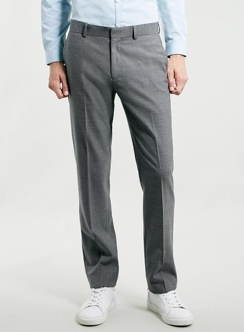 Grey Textured Dress Pants by Topman in Anchorman 2: The Legend Continues