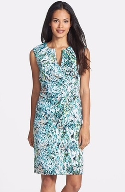 Surplice Floral Print Sheath Dress by Adrianna Papell in Mistresses