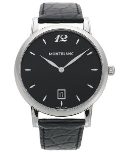 Men's Swiss Star Classique Black Leather Strap Watch by Montblanc in Focus
