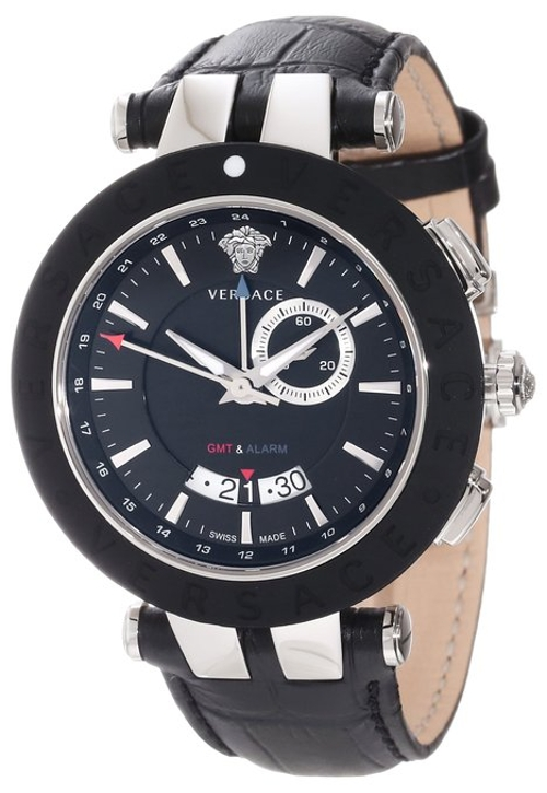 Dual-Time Black Leather Strap Big Date Watch by Versace in Sex and the City 2