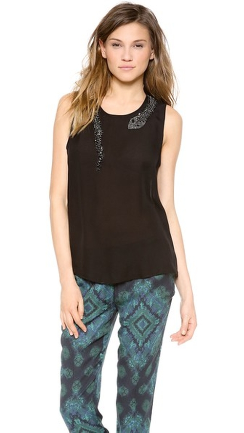 Muscle Tank With Beaded Snake by Haute Hippie in Pretty Little Liars