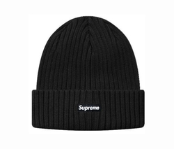 Ribbed Box Logo World Famous Black Beanie by Supreme in Keeping Up With The Kardashians