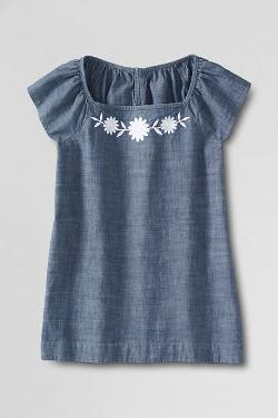 Girls' Squareneck Embroidered Chambray Top by Land's End in Oculus