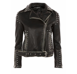 Naomi Studded Faux Leather Biker Jacket by Topshop in Preacher