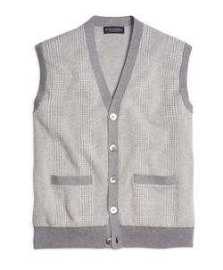 Cotton Cashmere Glen Plaid Vest by Brooks Brothers in The Flash
