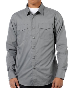 Republic Grey Button Up Shirt by RVCA in The Heat
