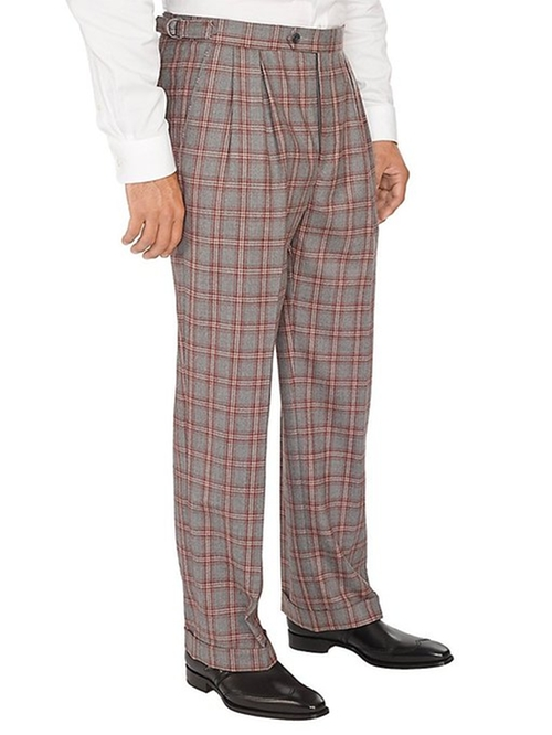 Men's Wool Windowpane Box Pleated Pants by Paul Fredrick in Wet Hot American Summer
