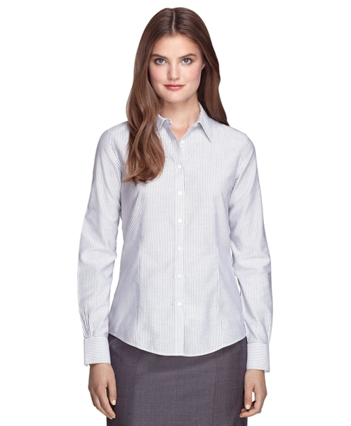 Tailored Fit Stripe Dress Shirt by Brooks Brothers in Pretty Little Liars - Season 6 Episode 9