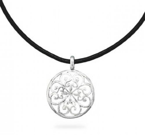 Scroll Design Pendant Black Leather Necklace by MMA Silver in Boyhood