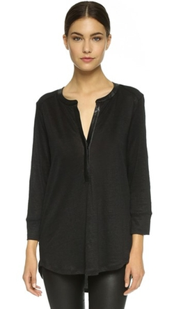 Leather Contrast Tunic Top by Vince in Billions
